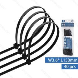 Abraçadeiras de Nylon 150x3.6mm Aigostar Pretas - Pack 40 unidades