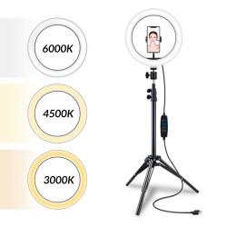 "Kit Anel de Luz 10"" + Mini Tripé c/ suporte para smartphone Iggual"