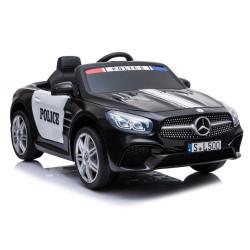 Carro Elétrico Mercedes SL500 Polícia 12V Bateria c/ Comando Preto